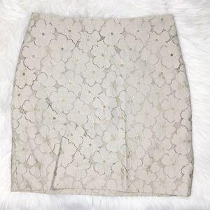 Ann Taylor Floral Textured Cream Beige Mini Skirt